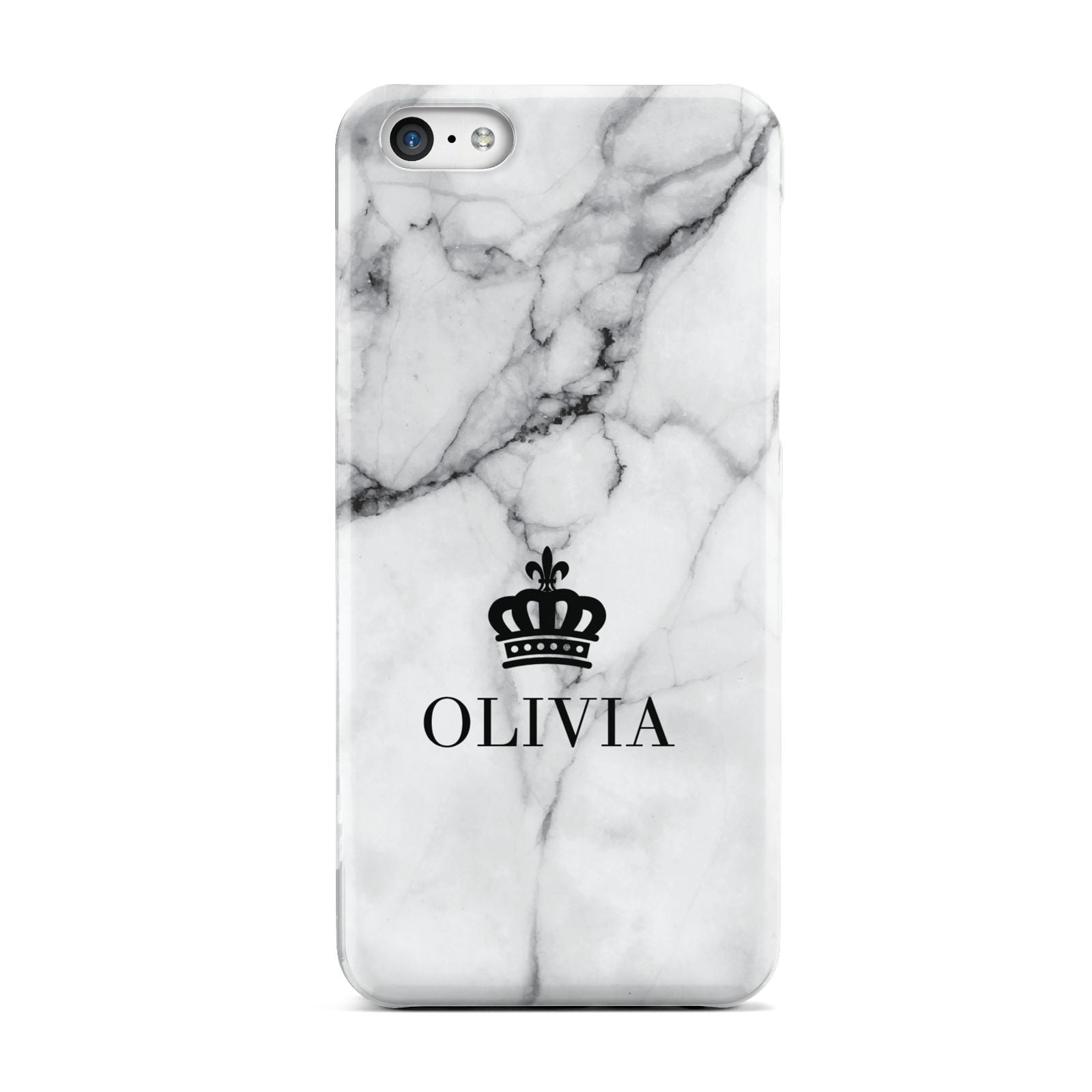 Personalised Marble Name Crown Apple iPhone 5c Case