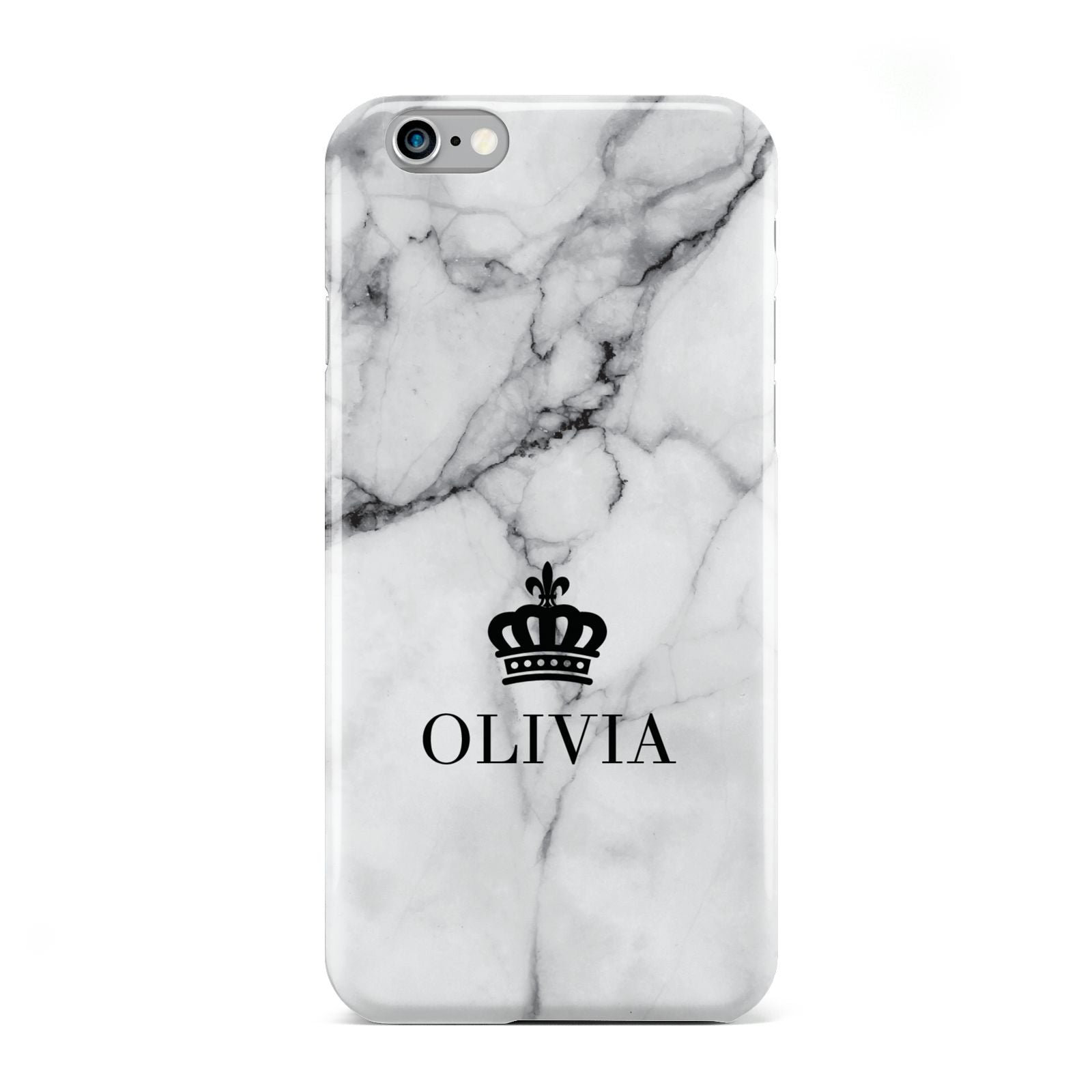 Personalised Marble Name Crown Apple iPhone 6 Case