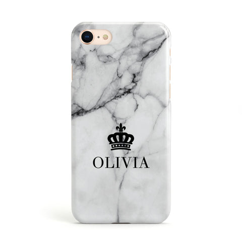 Personalised Marble Name Crown Apple iPhone Case