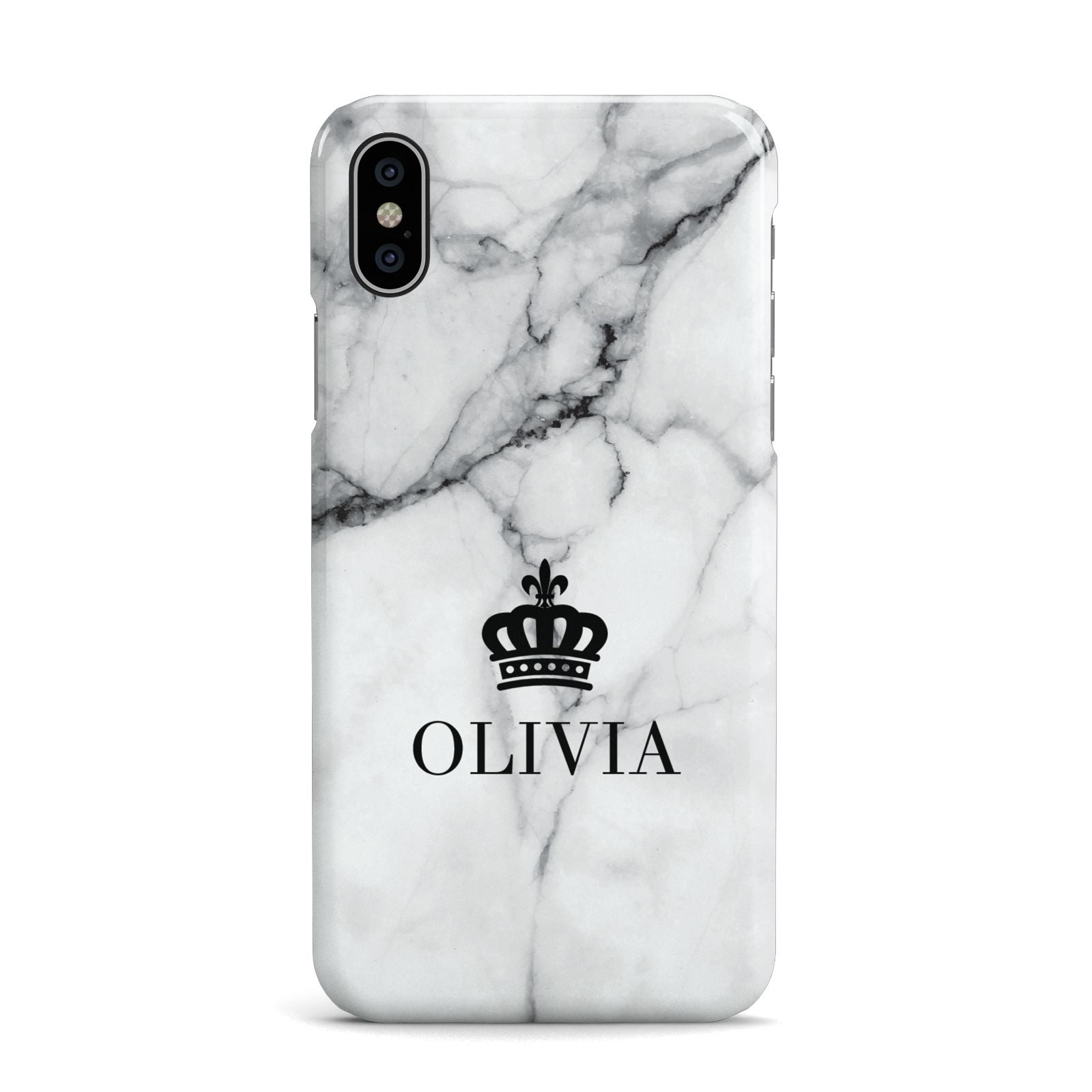 Personalised Marble Name Crown Apple iPhone X Case