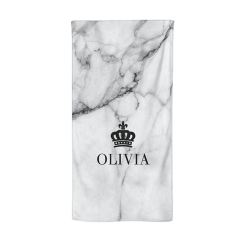 Personalised Marble Name & Crown Beach Towel