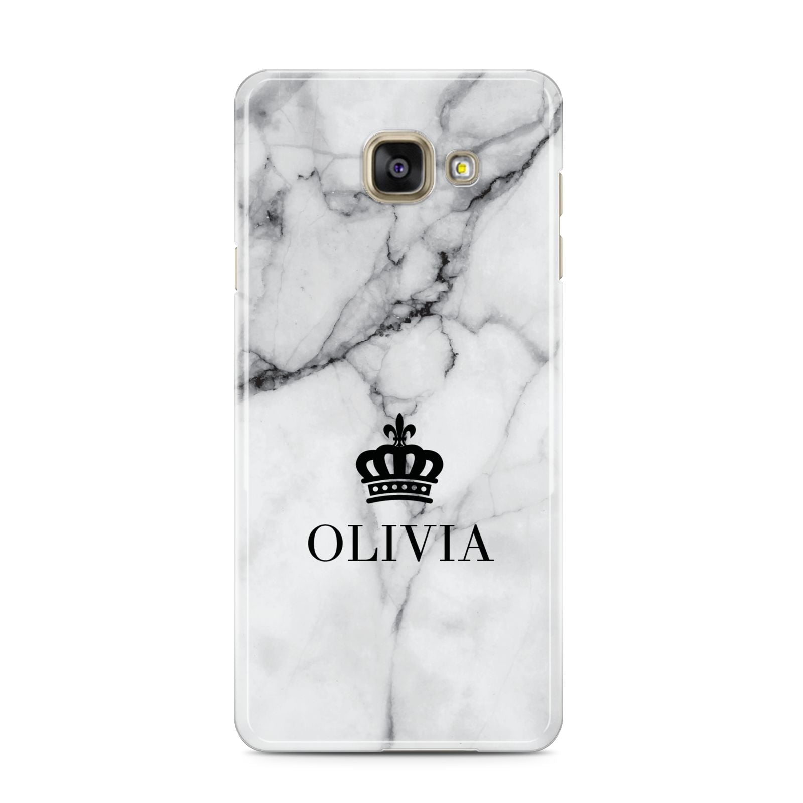 Personalised Marble Name Crown Samsung Galaxy A3 2016 Case on gold phone