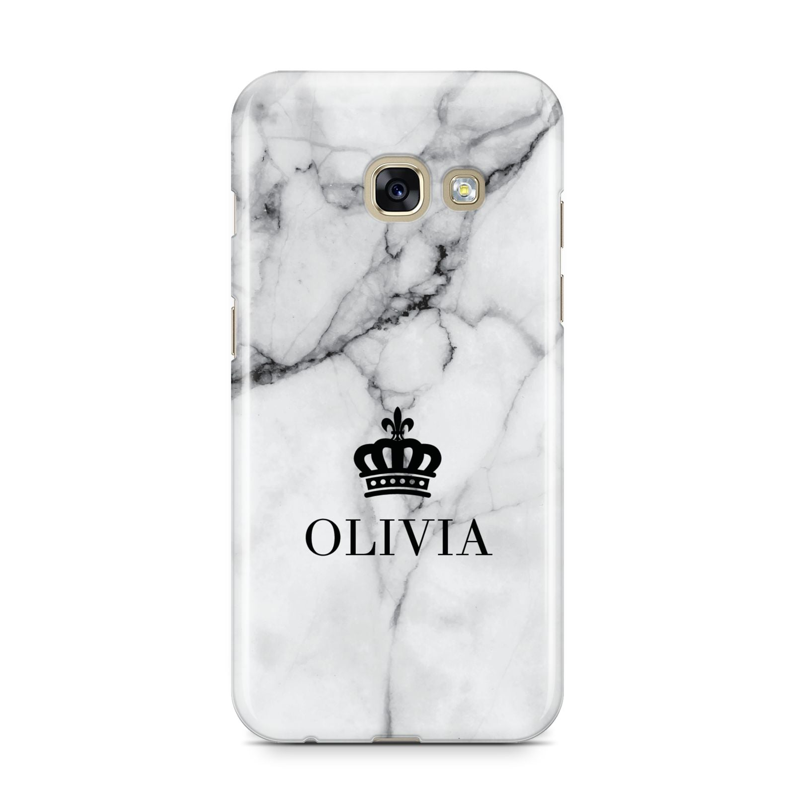 Personalised Marble Name Crown Samsung Galaxy A3 2017 Case on gold phone