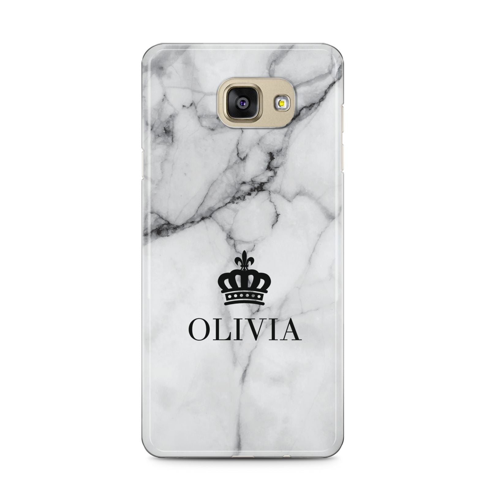 Personalised Marble Name Crown Samsung Galaxy A5 2016 Case on gold phone