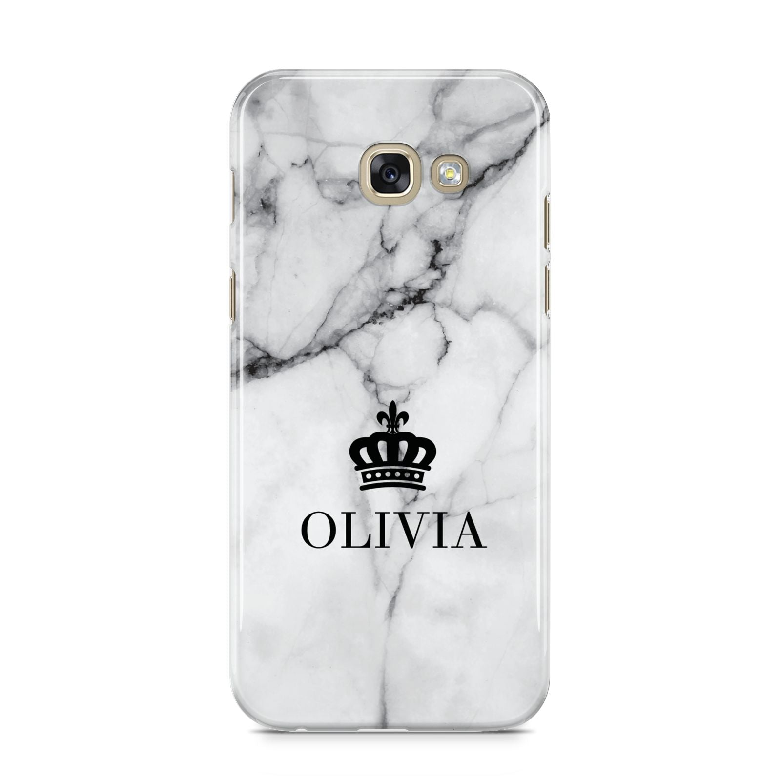 Personalised Marble Name Crown Samsung Galaxy A5 2017 Case on gold phone
