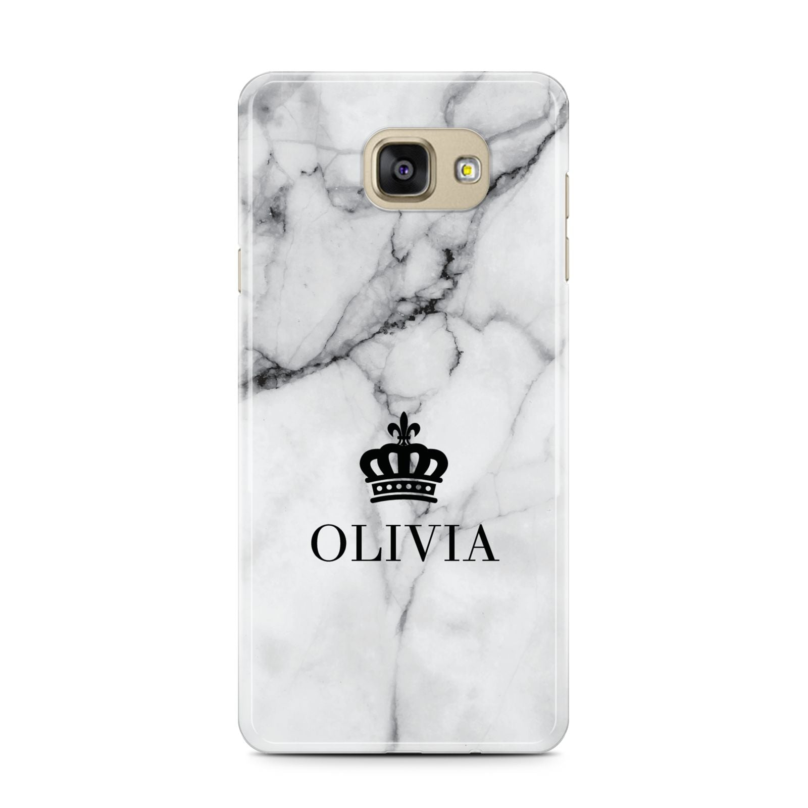 Personalised Marble Name Crown Samsung Galaxy A7 2016 Case on gold phone