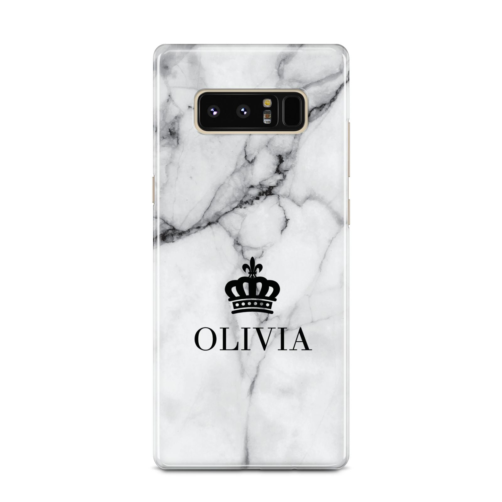 Personalised Marble Name Crown Samsung Galaxy Note 8 Case