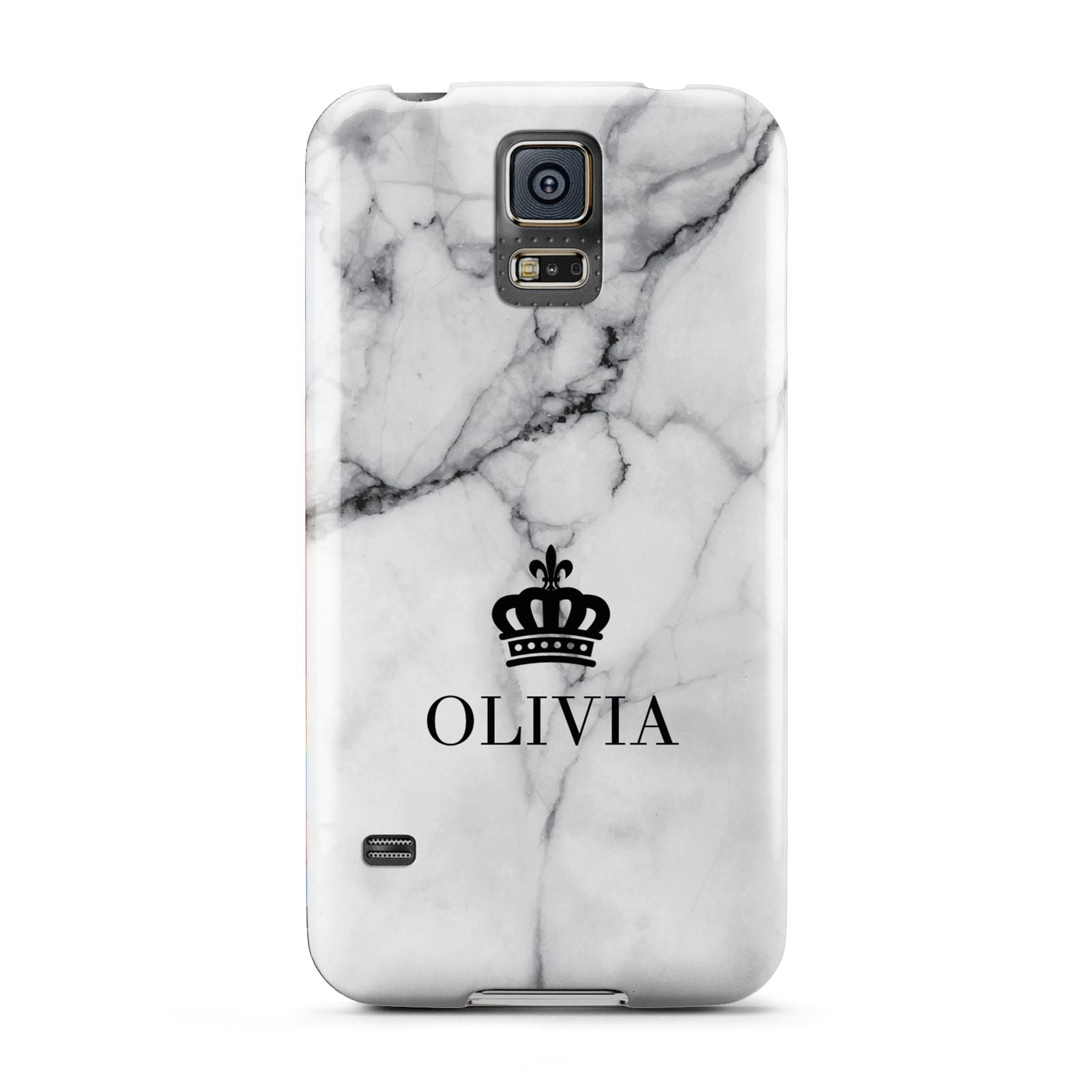 Personalised Marble Name Crown Samsung Galaxy S5 Case