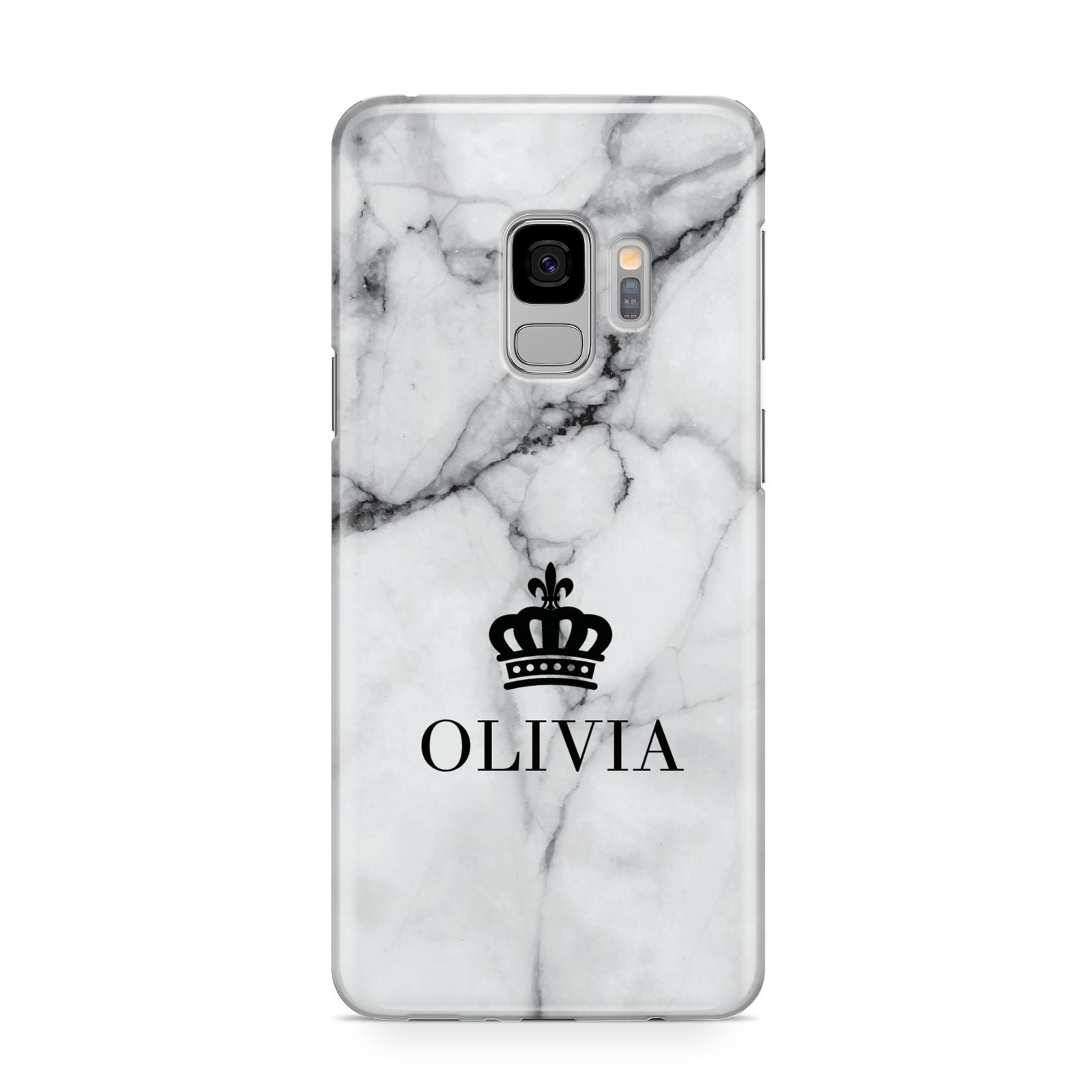 Personalised Marble Name Crown Samsung Galaxy S9 Case