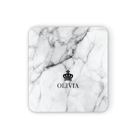 Personalised Marble Name & Crown Coasters set of 4