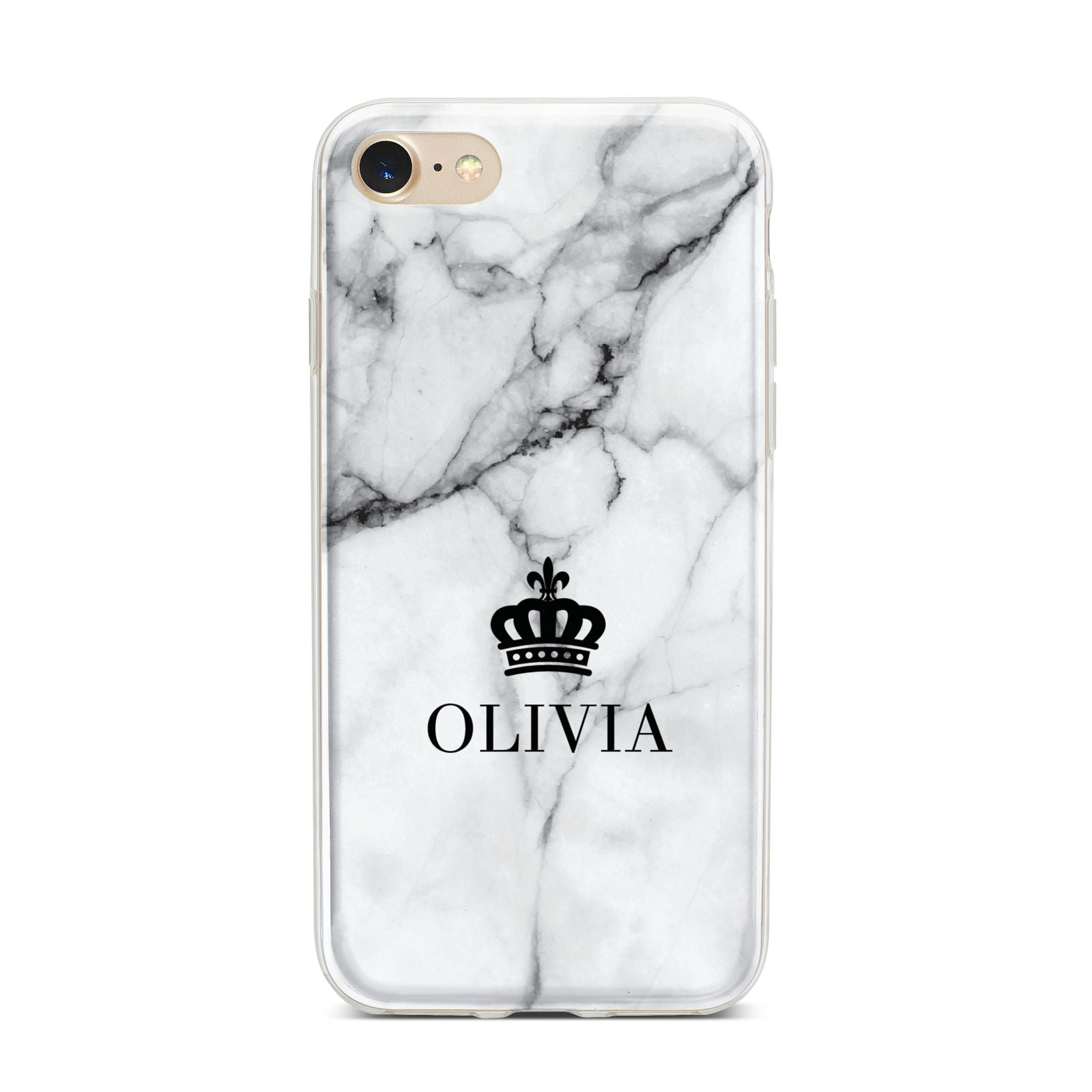 Personalised Marble Name Crown iPhone 7 Bumper Case on Gold iPhone