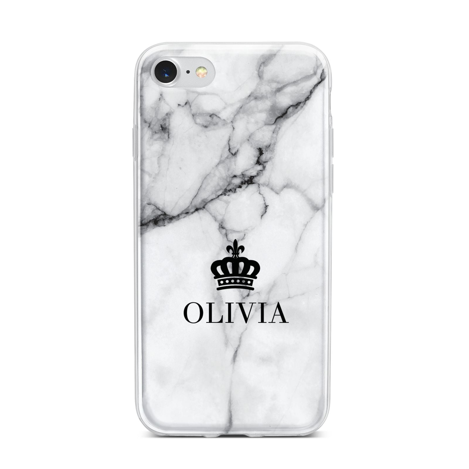 Personalised Marble Name Crown iPhone 7 Bumper Case on Silver iPhone