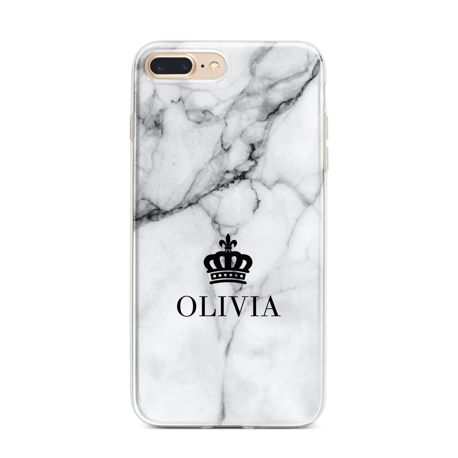 Personalised Marble Name Crown iPhone 7 Plus Bumper Case on Gold iPhone