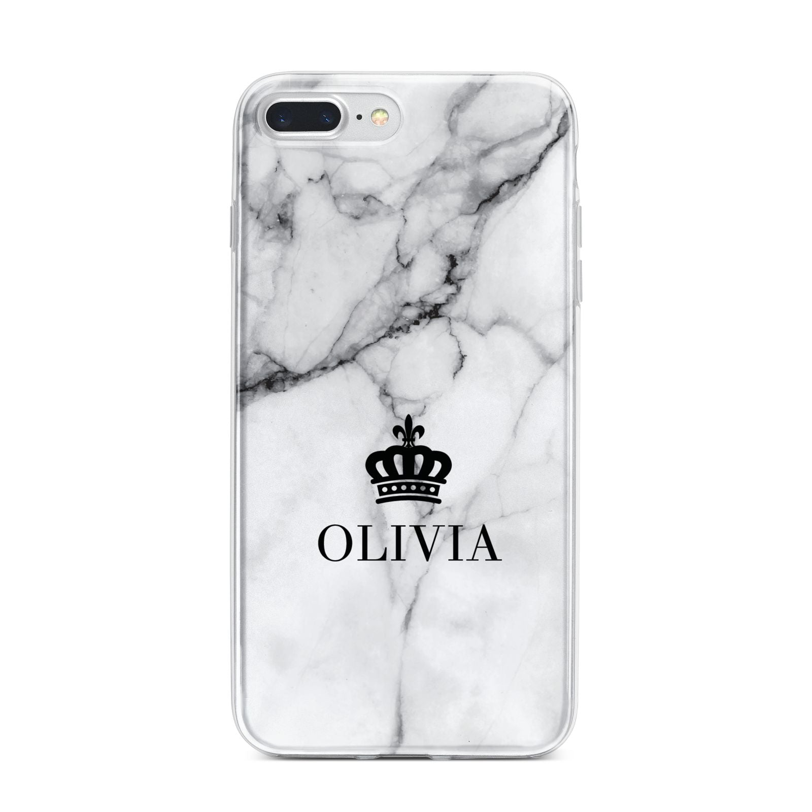 Personalised Marble Name Crown iPhone 7 Plus Bumper Case on Silver iPhone