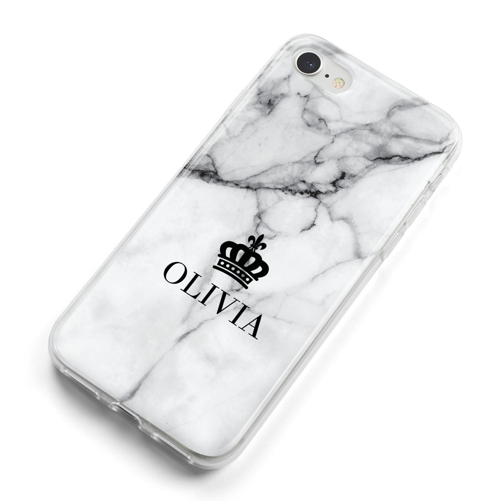 Personalised Marble Name Crown iPhone 8 Bumper Case on Silver iPhone Alternative Image