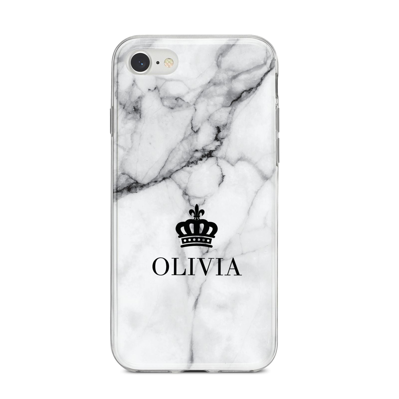 Personalised Marble Name Crown iPhone 8 Bumper Case on Silver iPhone