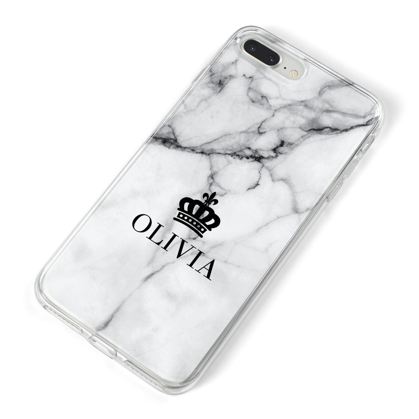 Personalised Marble Name Crown iPhone 8 Plus Bumper Case on Silver iPhone Alternative Image