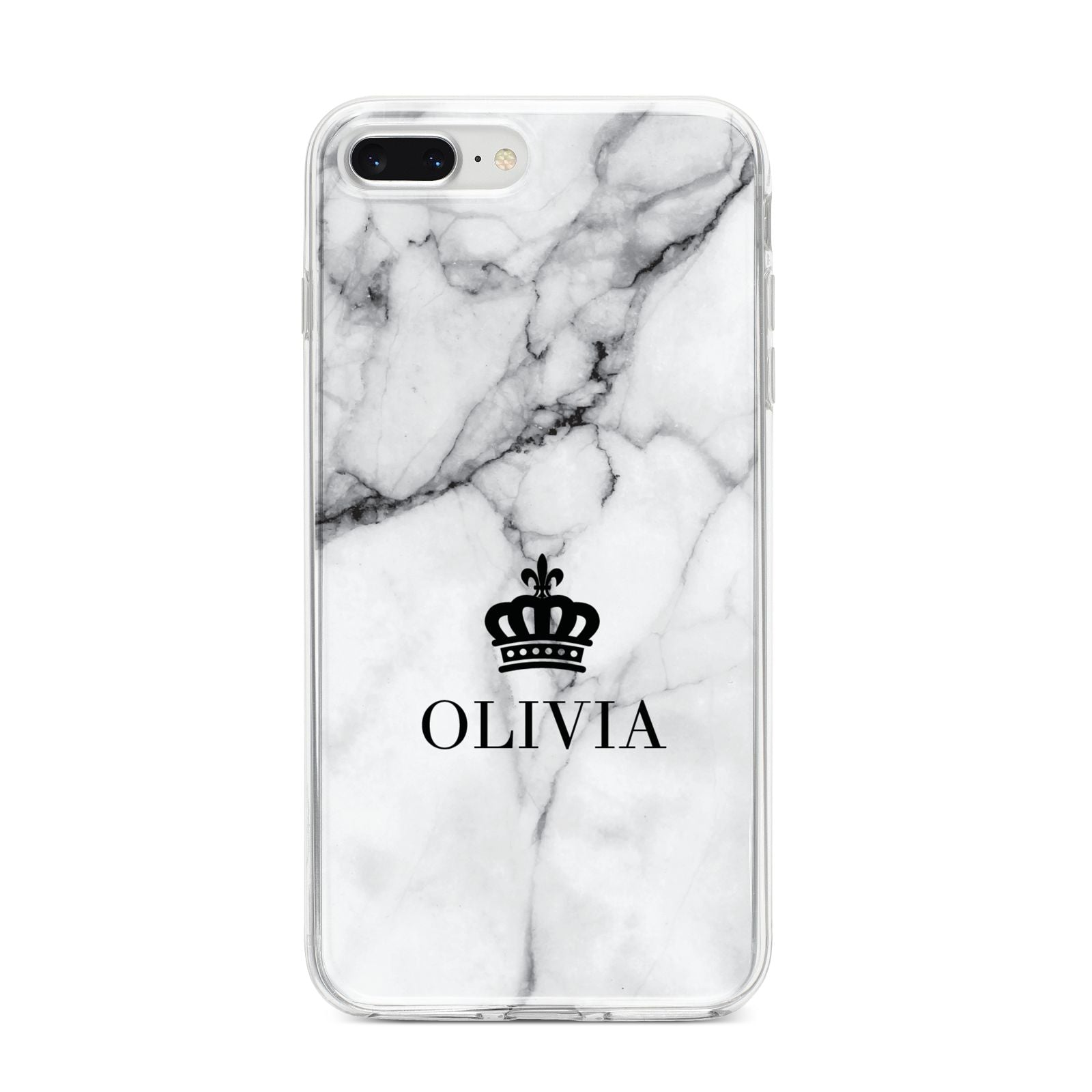 Personalised Marble Name Crown iPhone 8 Plus Bumper Case on Silver iPhone