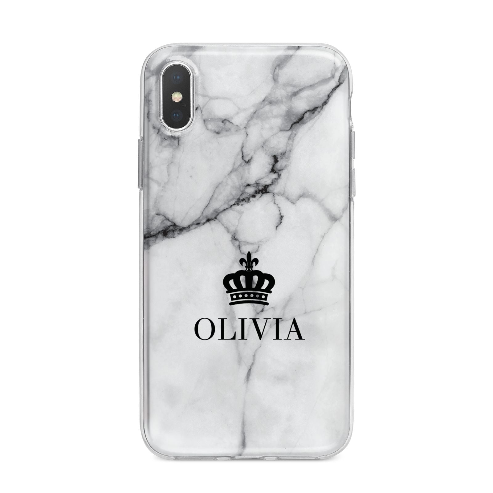 Personalised Marble Name Crown iPhone X Bumper Case on Silver iPhone Alternative Image 1