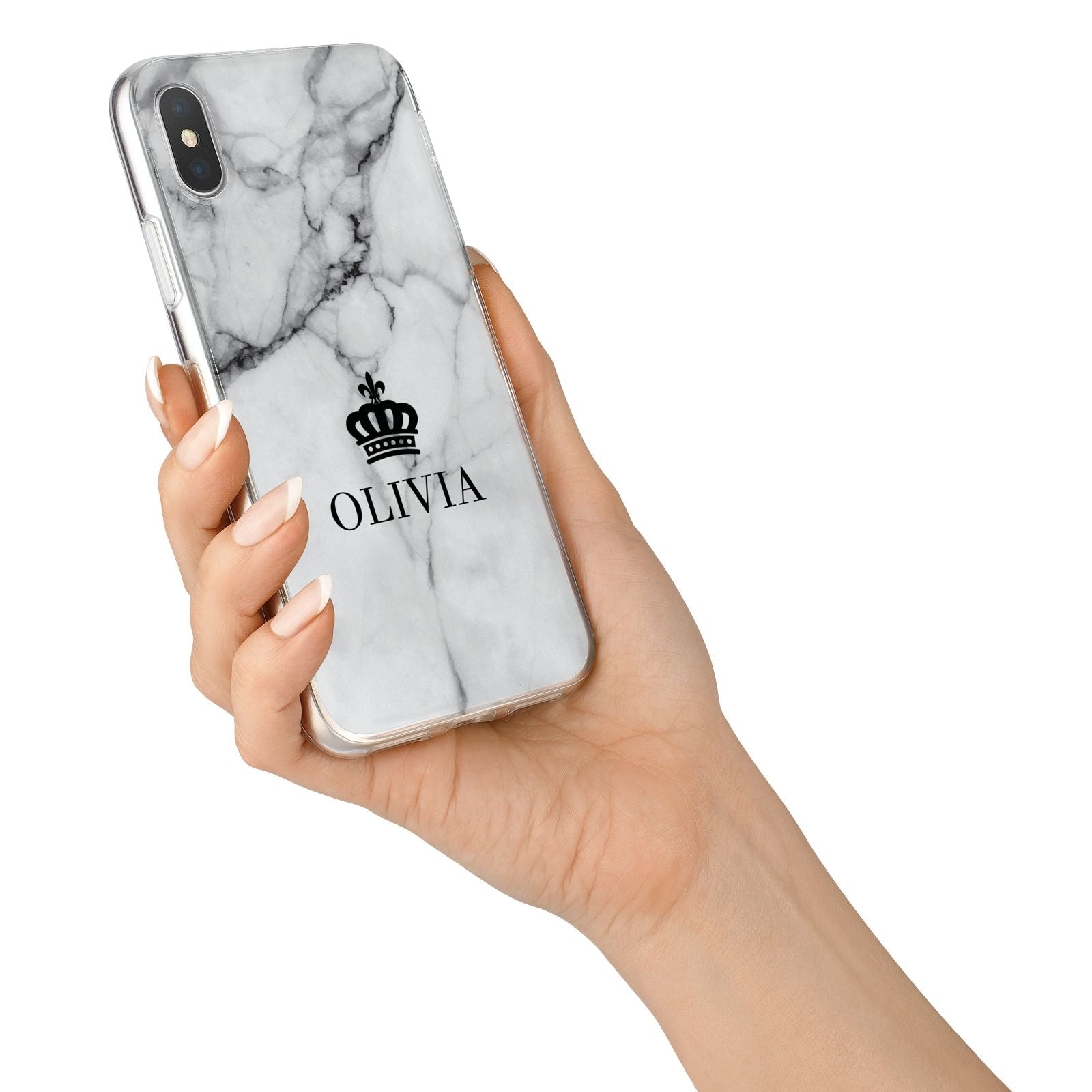 Personalised Marble Name Crown iPhone X Bumper Case on Silver iPhone Alternative Image 2