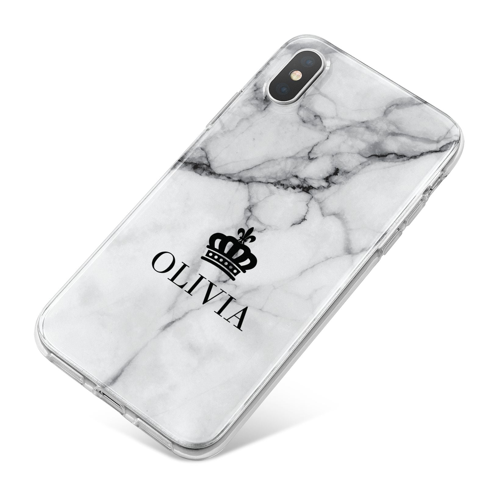 Personalised Marble Name Crown iPhone X Bumper Case on Silver iPhone