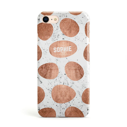 Personalised Marble Name Initials Rose Gold Dots Apple iPhone Case