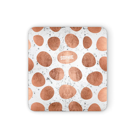 Personalised Marble Name Initials Rose Gold Dots Coasters set of 4