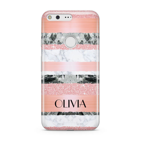 Personalised Marble Name Text Custom Google Case