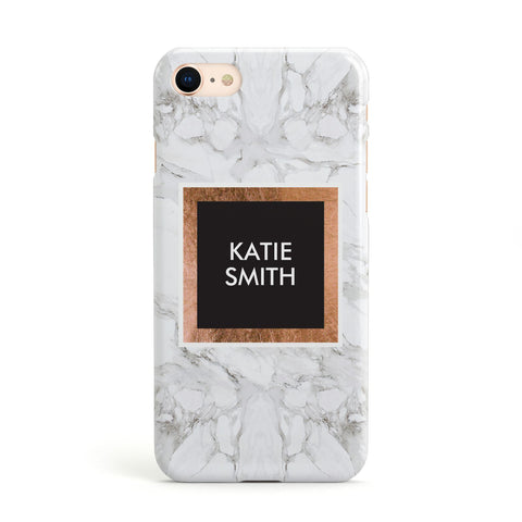 Personalised Marble Name Text Initials Apple iPhone Case