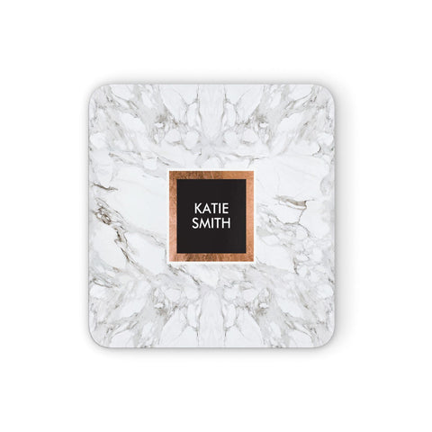 Personalised Marble Name Text Initials Coasters set of 4