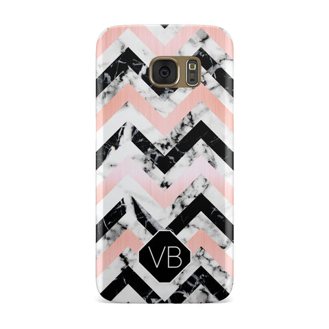 Personalised Marble Pattern Initials Samsung Galaxy Case