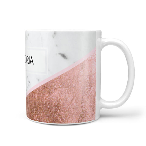 Personalised Marble Rose Gold Name Initials Mug