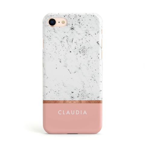Personalised Marble With Name Initials Pink Apple iPhone Case