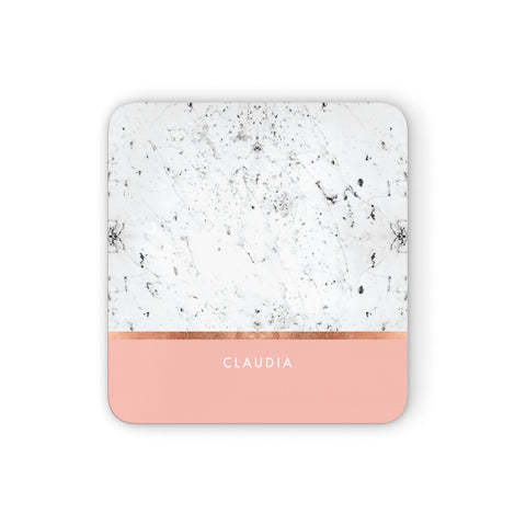 Personalised Marble With Name Initials Pink Coasters set of 4