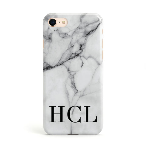Personalised Medium Marble Initials Apple iPhone Case
