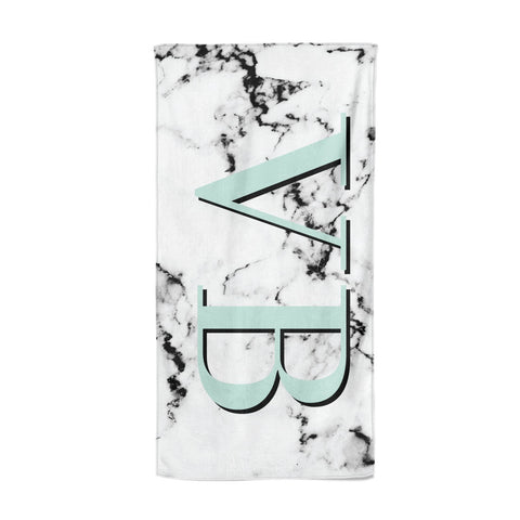 Personalised Mint Big Initials Marble Beach Towel
