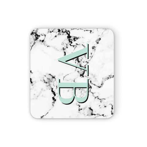 Personalised Mint Big Initials Marble Coasters set of 4