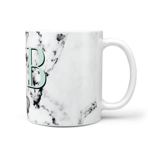 Personalised Mint Crown Initials Marble Mug
