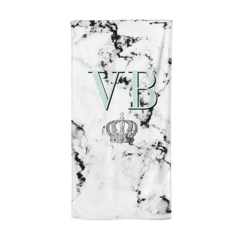 Personalised Mint Crown Initials Marble Beach Towel