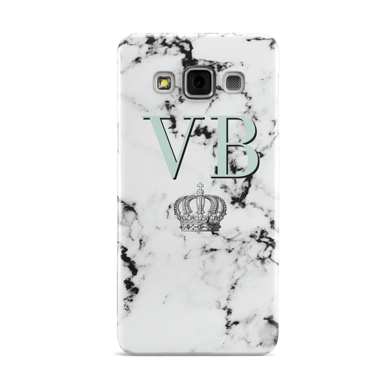 Personalised Mint Crown Initials Marble Samsung Galaxy A3 Case