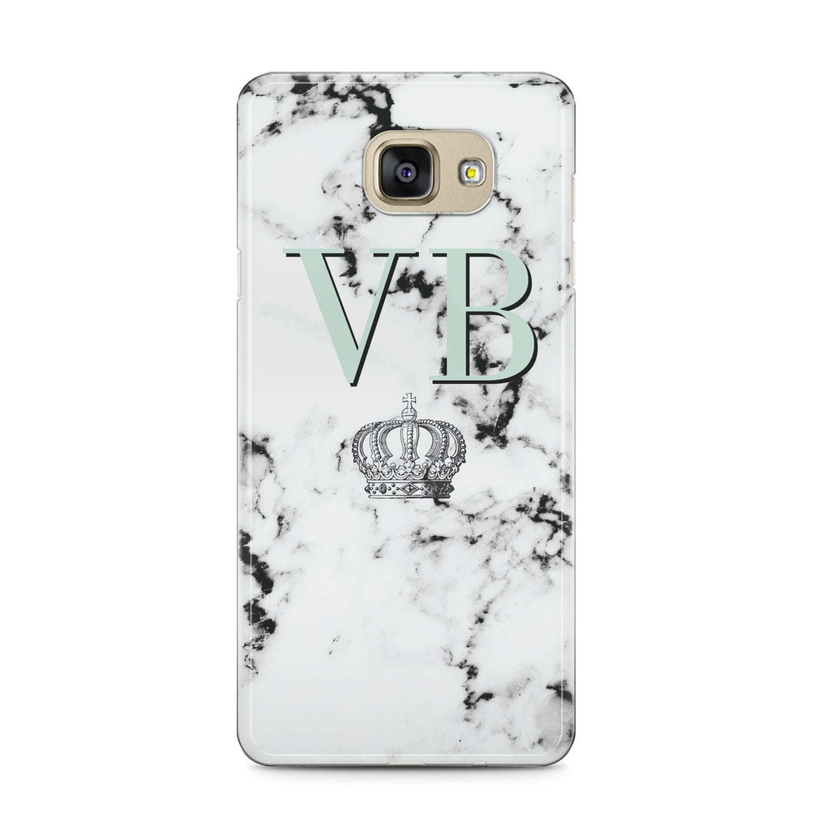 Personalised Mint Crown Initials Marble Samsung Galaxy A5 2016 Case on gold phone