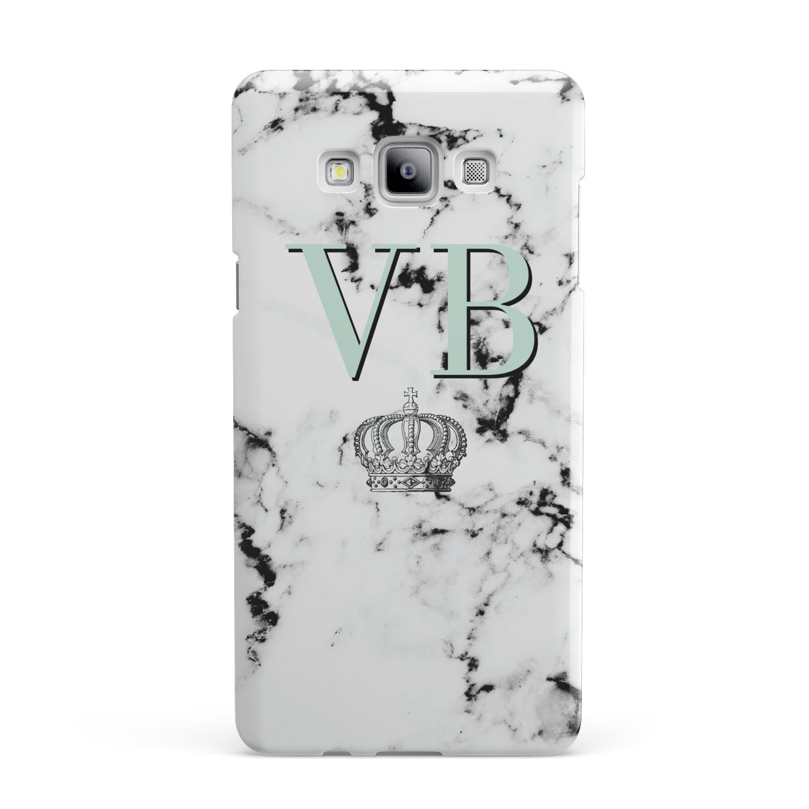 Personalised Mint Crown Initials Marble Samsung Galaxy A7 2015 Case