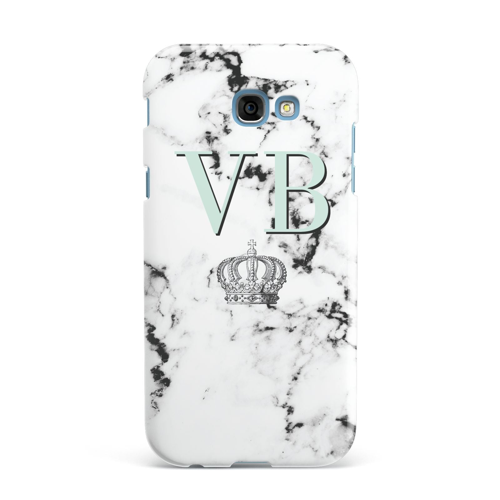 Personalised Mint Crown Initials Marble Samsung Galaxy A7 2017 Case