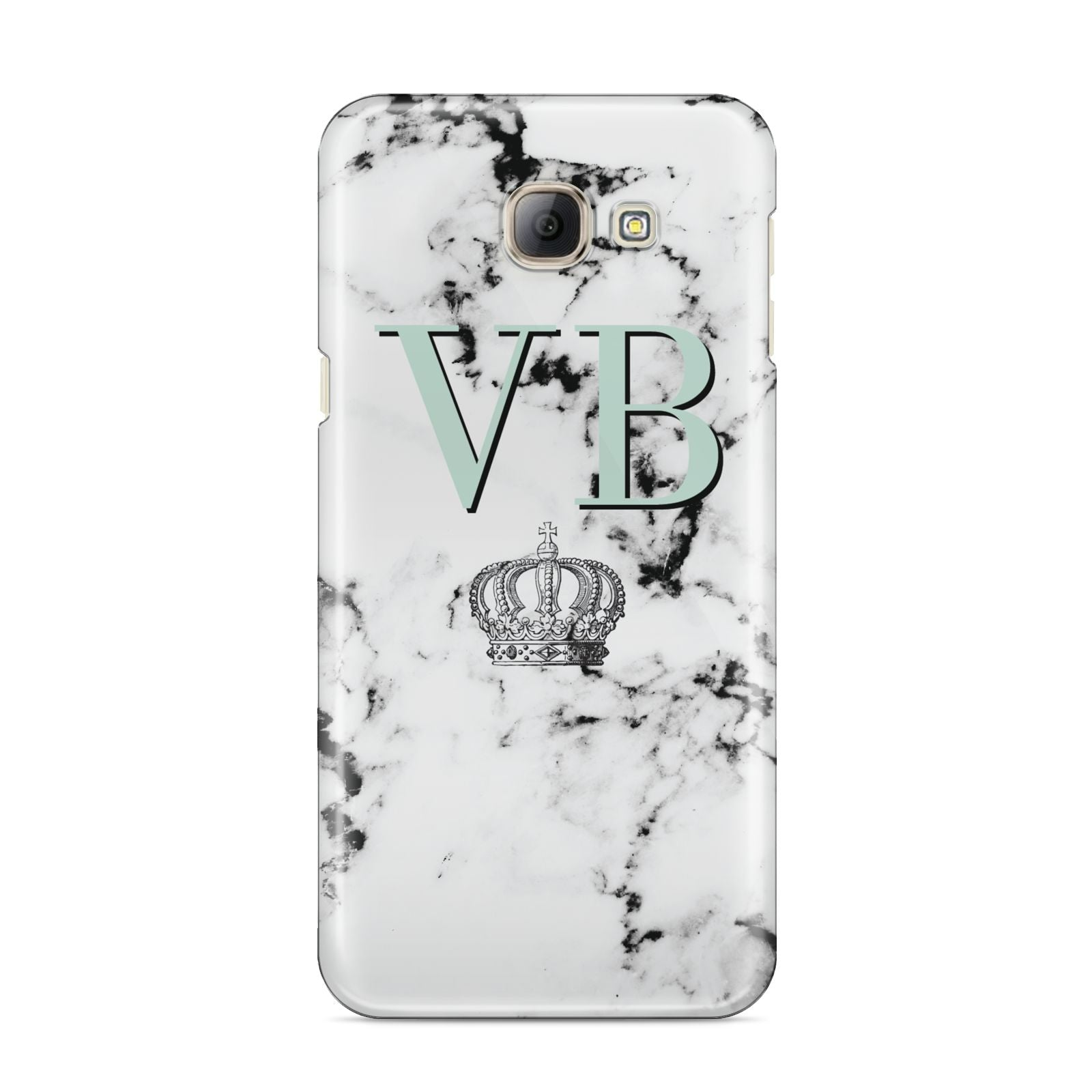 Personalised Mint Crown Initials Marble Samsung Galaxy A8 2016 Case