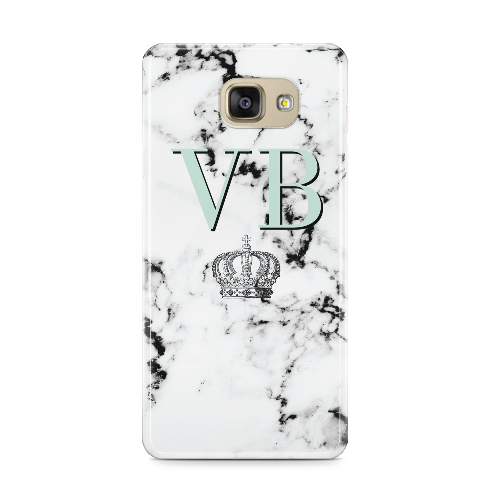 Personalised Mint Crown Initials Marble Samsung Galaxy A9 2016 Case on gold phone