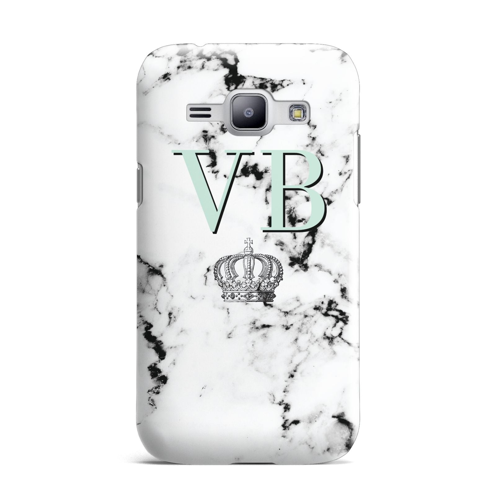 Personalised Mint Crown Initials Marble Samsung Galaxy J1 2015 Case