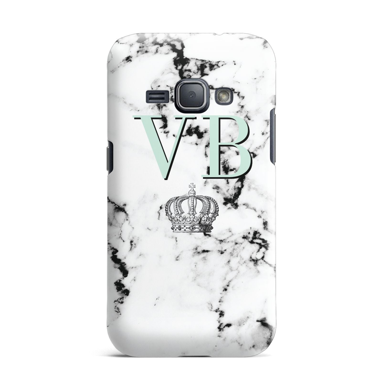 Personalised Mint Crown Initials Marble Samsung Galaxy J1 2016 Case
