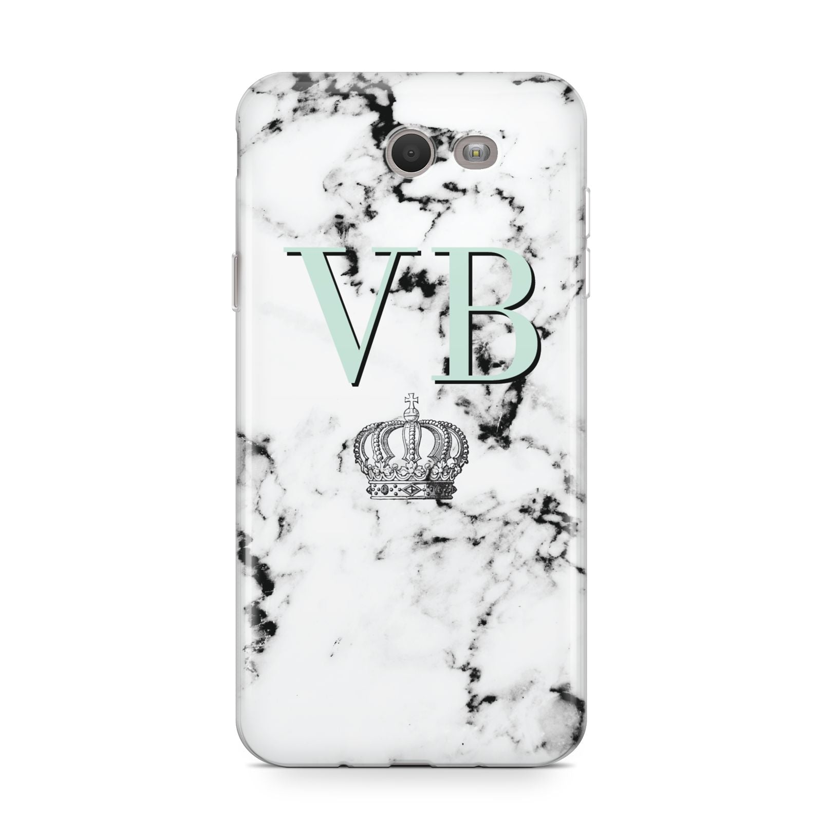 Personalised Mint Crown Initials Marble Samsung Galaxy J7 2017 Case
