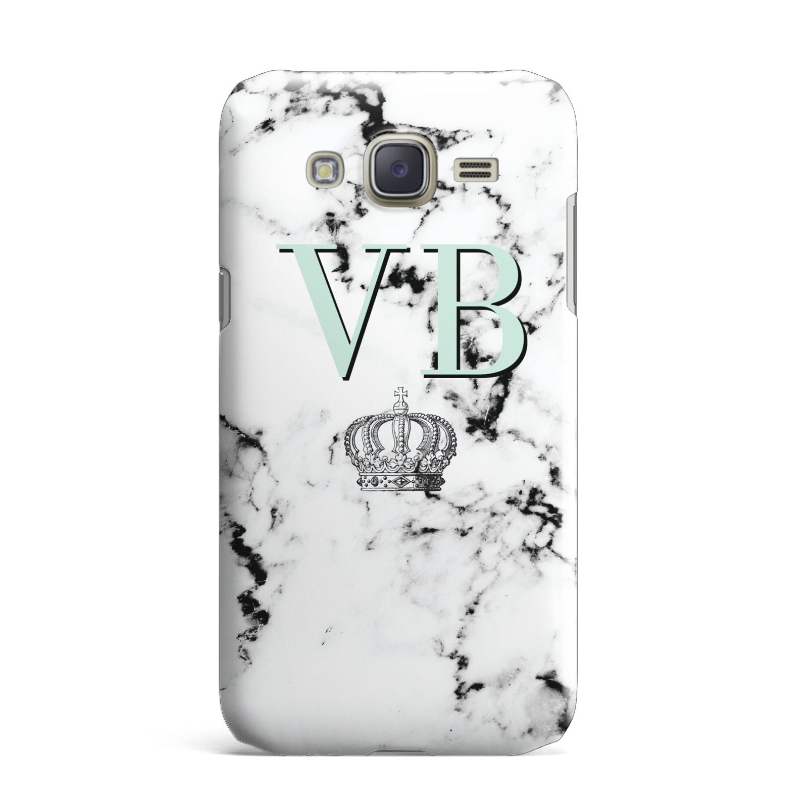 Personalised Mint Crown Initials Marble Samsung Galaxy J7 Case