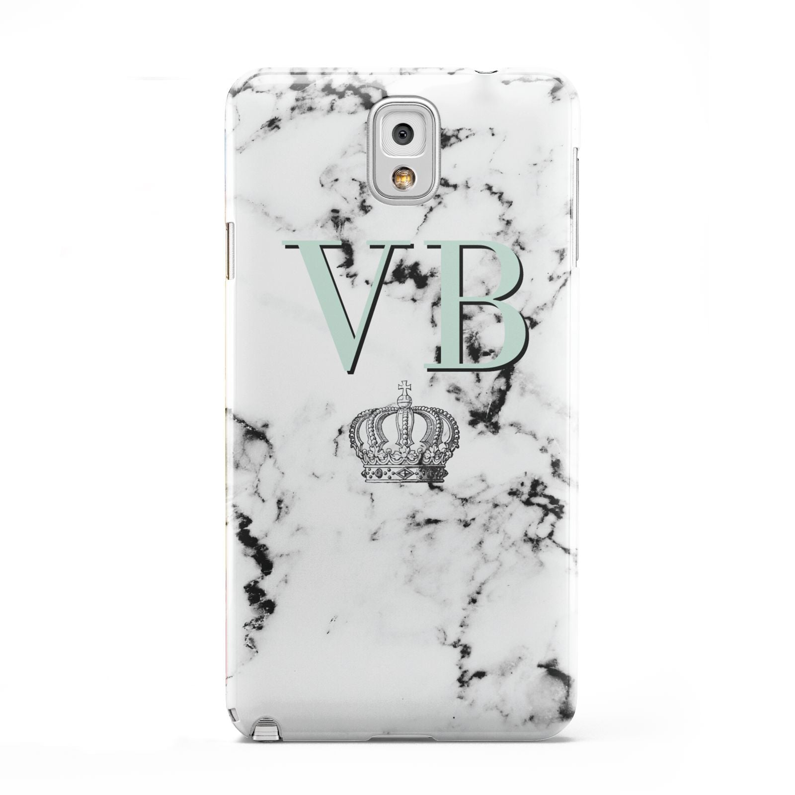 Personalised Mint Crown Initials Marble Samsung Galaxy Note 3 Case